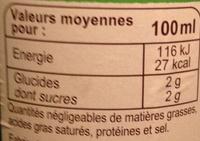 Pur jus de citron - Informations nutritionnelles