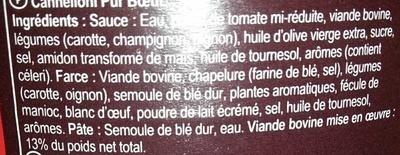 Cannelloni Pur Boeuf - Ingrédients