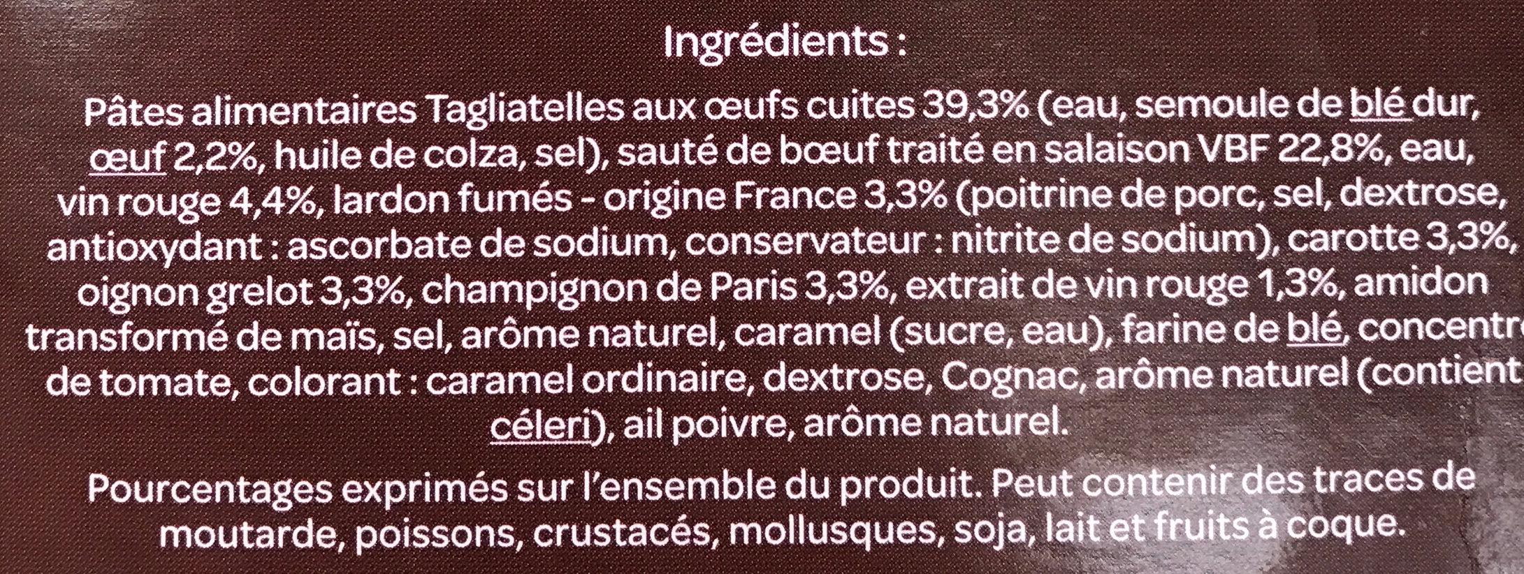 Bœuf Bourguignon et ses Tagliatelles - Ingrédients