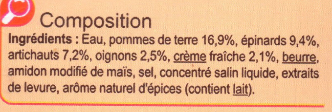 Velouté aux Épinards et aux Artichauts - Ingrédients
