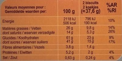 Galettes à l'avoine  Au chocolat noir - Voedingswaarden
