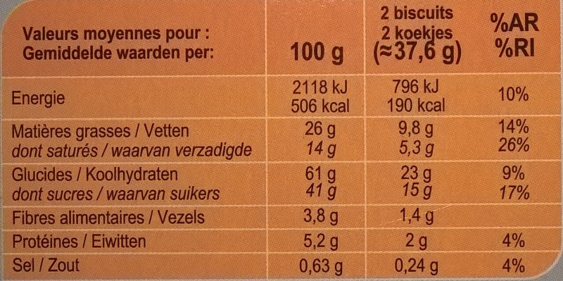 Galettes à l'avoine Au chocolat noir - Nutrition facts - fr