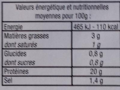Jambon Cuit -25% de sel Découenné Dégraissé - Informations nutritionnelles - fr