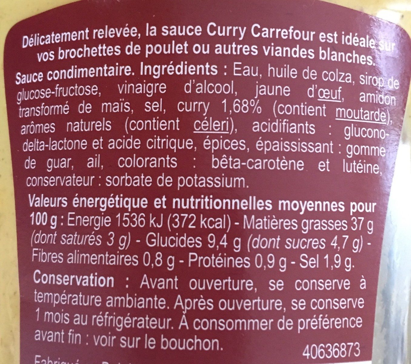 Sauce Curry - Ingrédients - fr