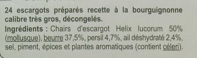 24 Escargots Préparés à la Bourguignonne - Ingrediënten - fr