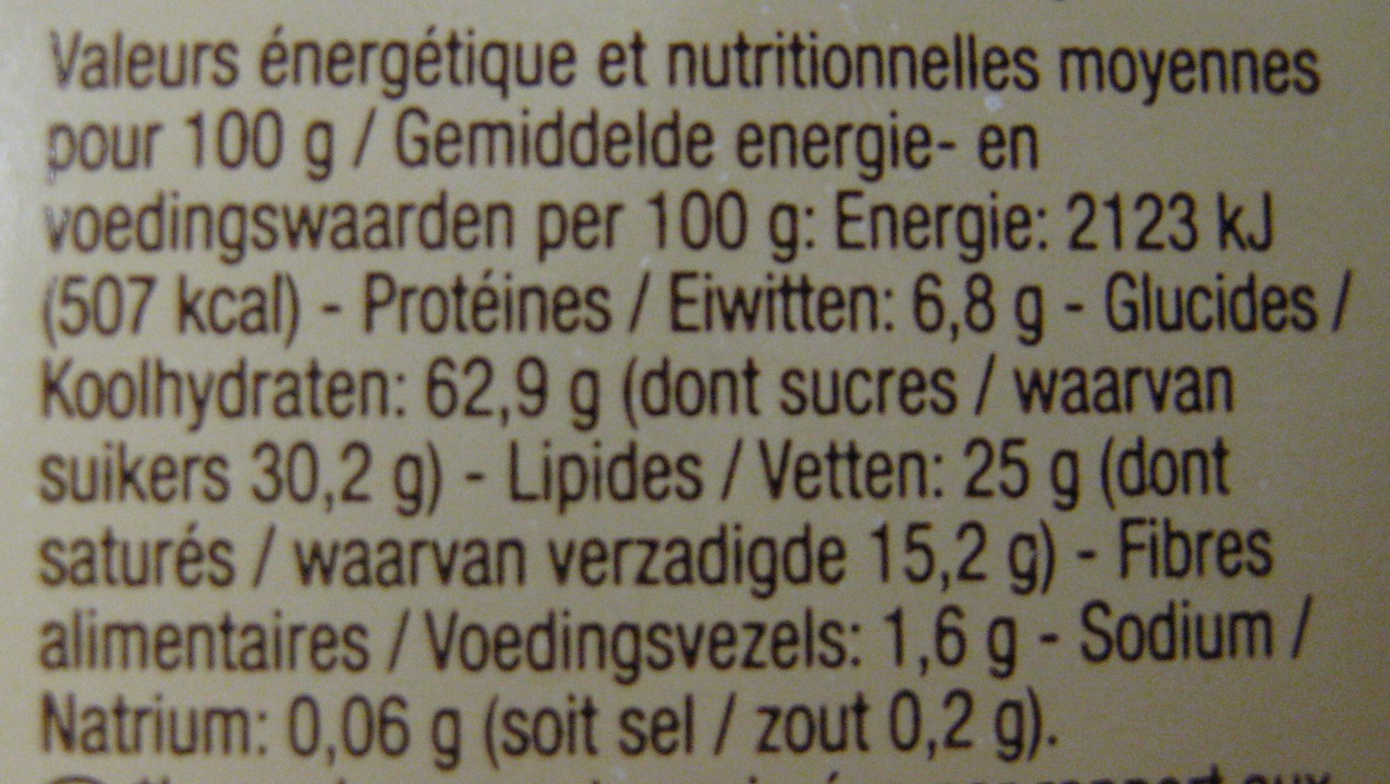 Galettes de riz nappées chocolat blanc - Nutrition facts - fr