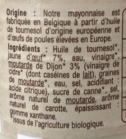 Mayonnaise Bio à Moutarde de Dijon - Ingredients - fr