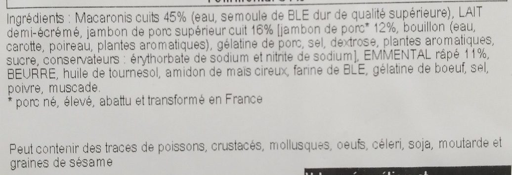 Gratin de Macaroni Jambon à l'Ancienne - Ingrediënten - fr
