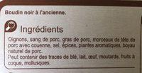 Boudins noirs à l'ancienne - Ingrédients - fr