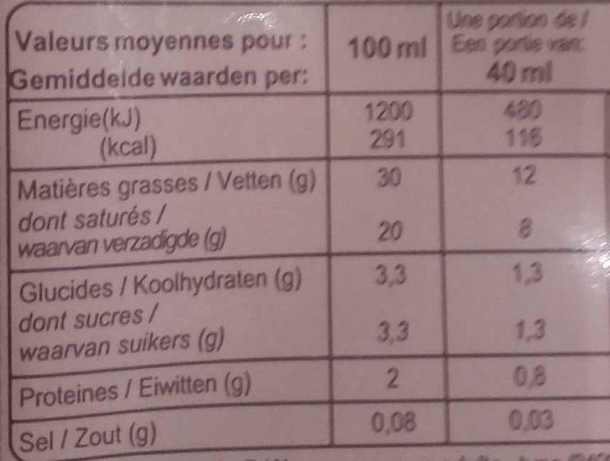 Crème Fluide Entière (30% MG) - Informations nutritionnelles
