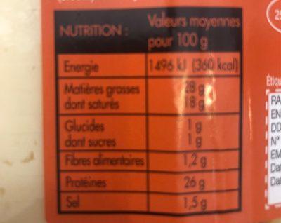 Raclette en tranches - Voedigswaarden