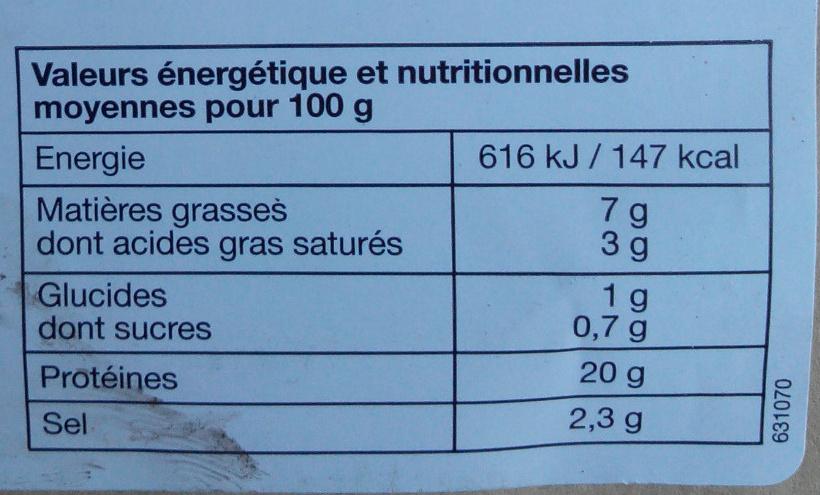 Jambon cuit - Avec couenne - Informations nutritionnelles