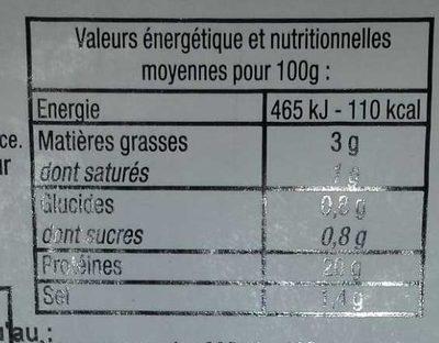 Jambon Cuit Supérieur decouenne, degraissee, -25% de sel - Informations nutritionnelles - fr