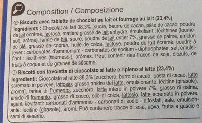 La barretablettecœur au lait - Ingredients