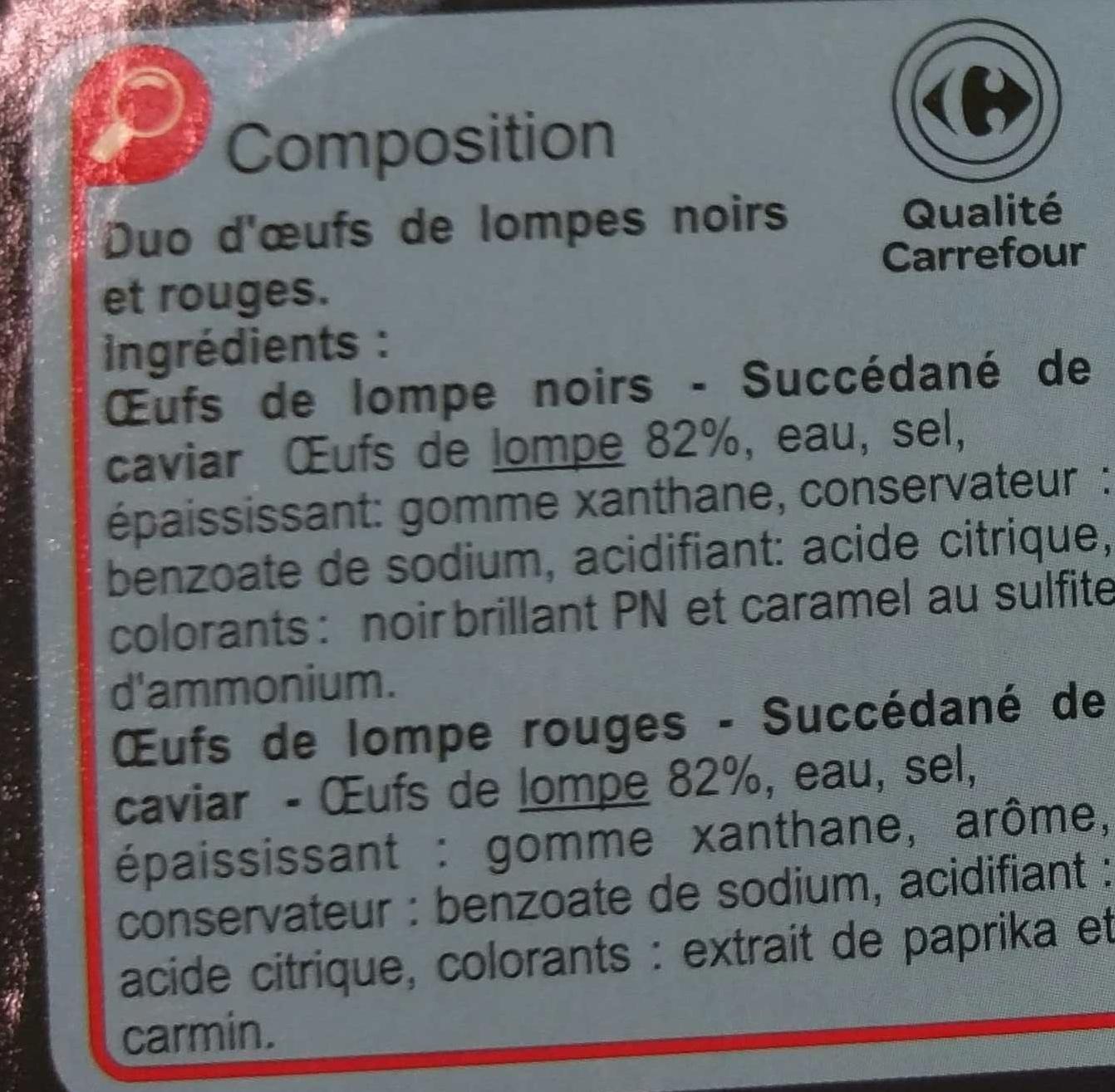 Duo oeufs de lompe rouge & noir - Ingrediënten - fr