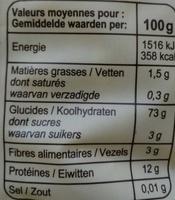 Fusilli - Informations nutritionnelles - fr