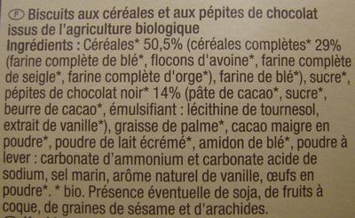 Biscuits Petit déjeuner Céréales et pépites de chocolat - Ingredients
