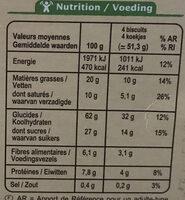 Biscuits Petit déjeuner Céréales et pépites choco - Valori nutrizionali - fr
