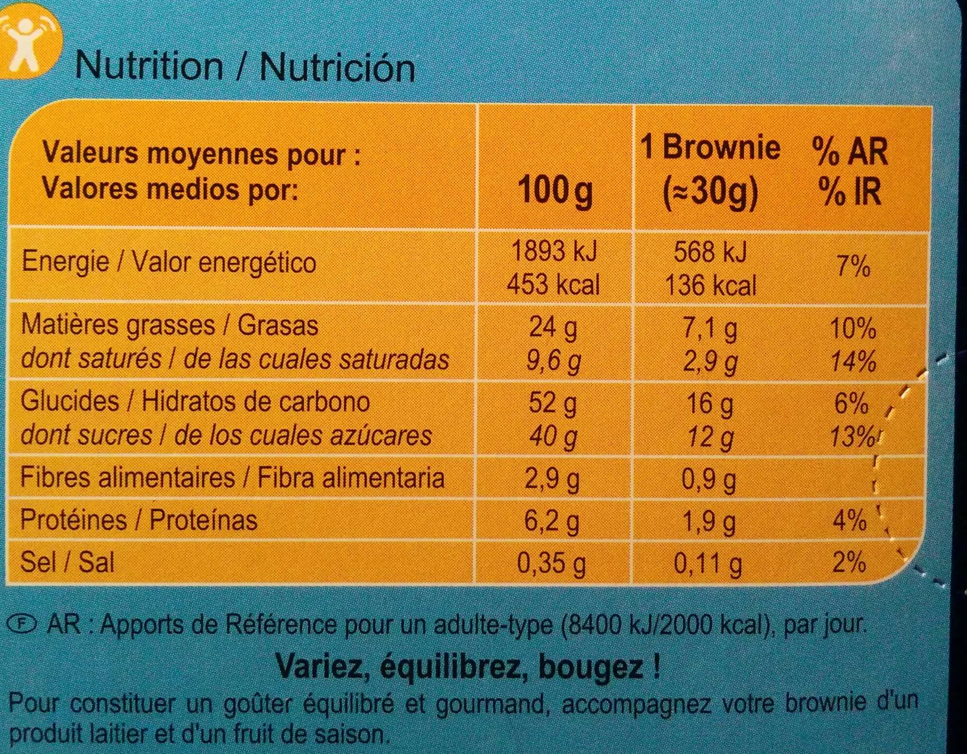 Brownie  aux pépites de chocolat - Nutrition facts