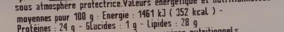 Morbier au lait cru - Informations nutritionnelles - fr