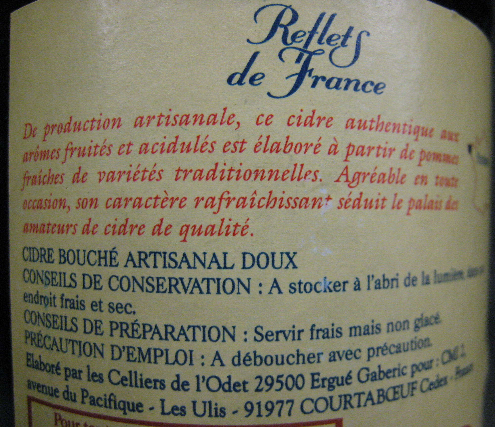 Cidre Bouché Artisanal, Doux (2 % vol.) - Ingredients - fr