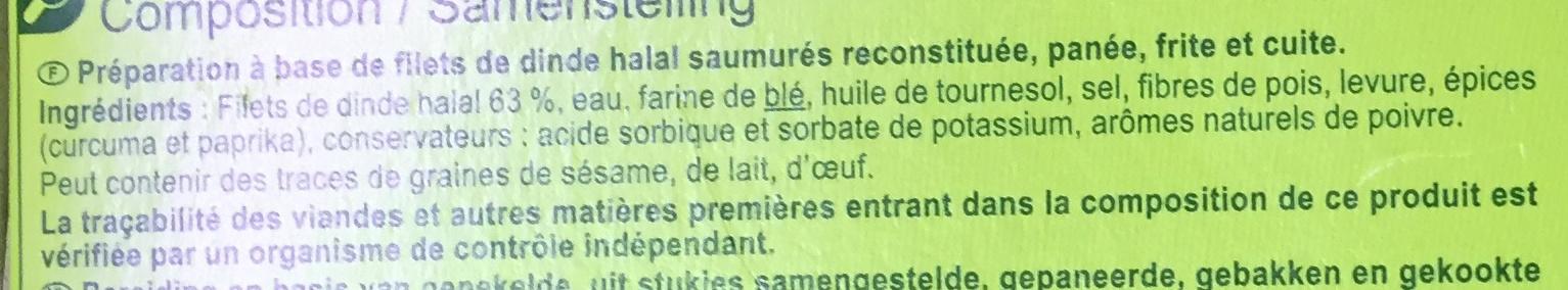Escalope de dinde* viennoise halal * à partir de viande de dinde reconstituée - Ingrédients - fr