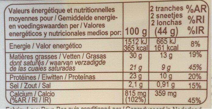 Gouda Bio - Voedingswaarden - fr