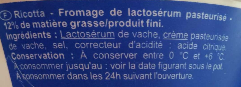 Ricotta - Ingredienti - fr