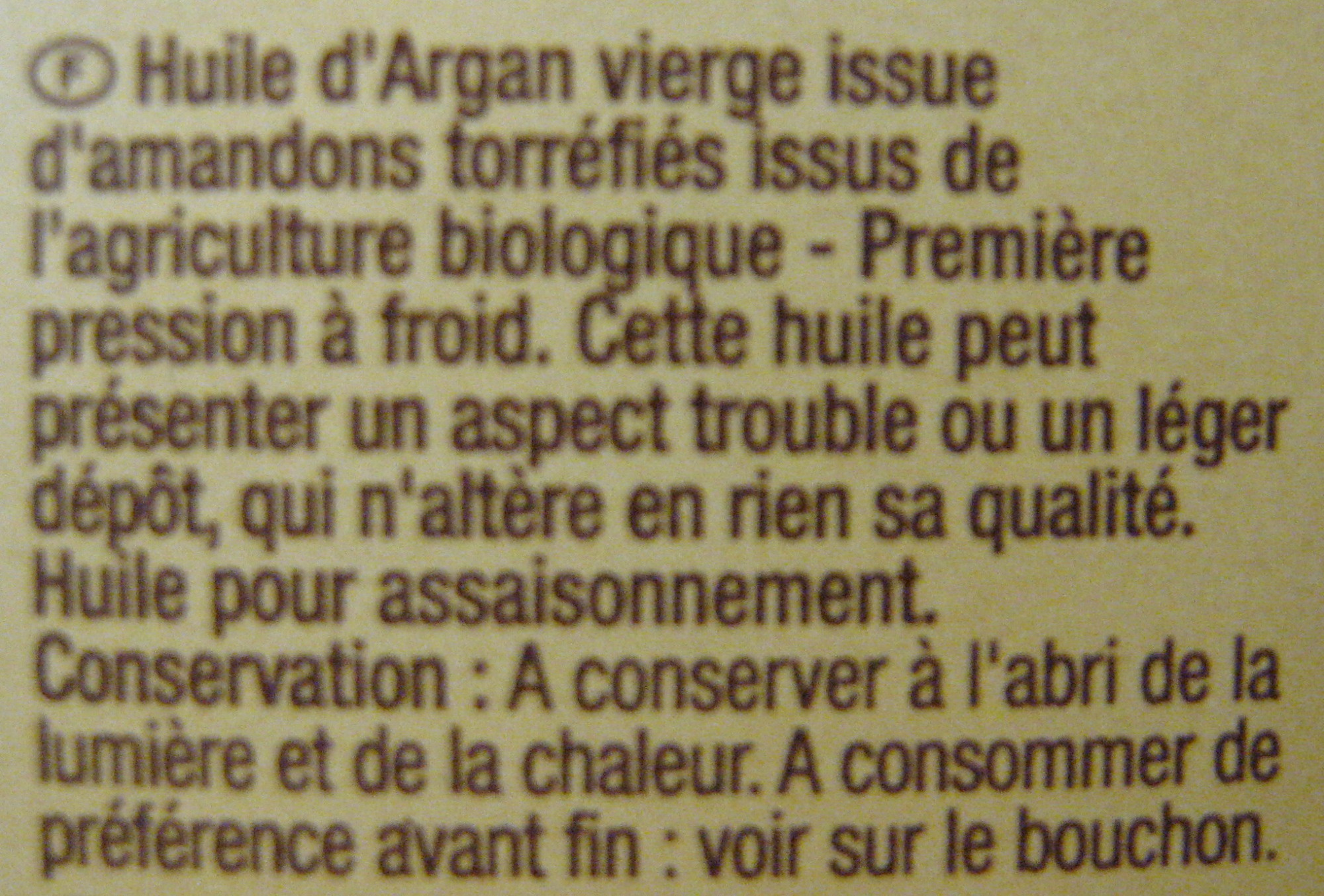 Huile d'Argan vierge bio - Ingredienti - fr