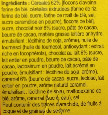 Crunchy Muesli Chocolat caramel Doré au four - Ingrediënten - fr