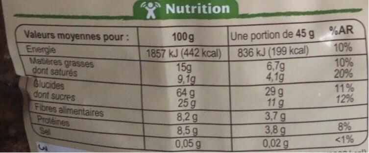 Muesli croustillant Chocolat - Nutrition facts - fr
