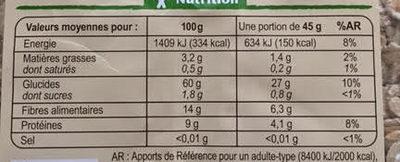 Muesli Floconneux 5 Céréales Nature Bio - Nutrition facts