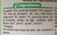 Courgettes bio à la provençale - Ingrédients - fr