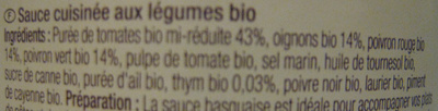 Sauce basquaise finement relevée - Ingrediënten - fr