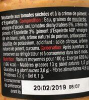 Moutarde aux tomates séchées et crème de piment d'Espelette - Ingredients - fr