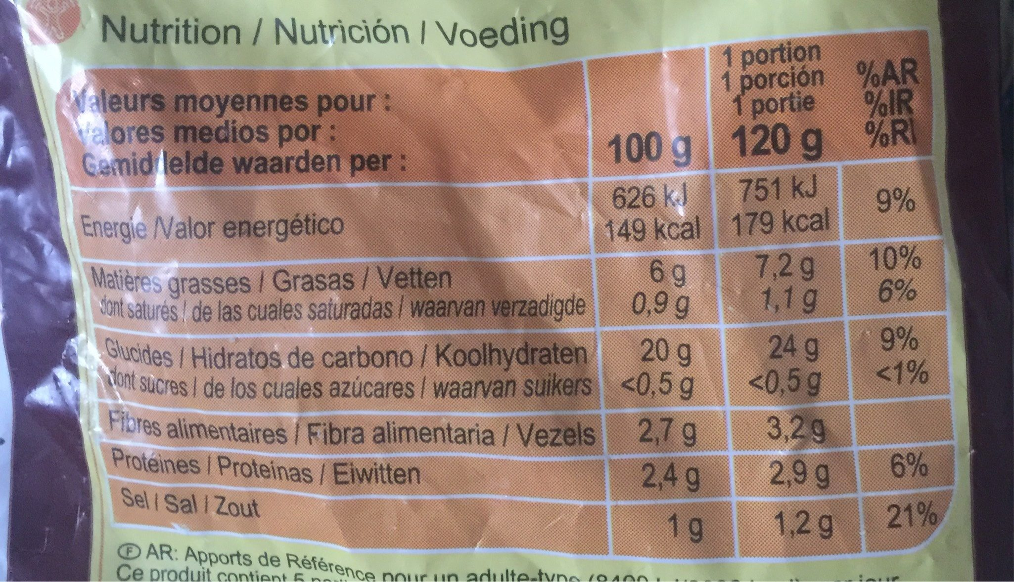 Pommes alphabet - Información nutricional