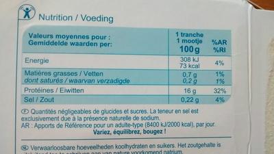 Tranches de filets de Colin d'Alaska - Informations nutritionnelles - fr