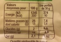 Feta AOP bio (24% MG) - Nutrition facts