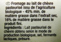 Fromage de chèvre à tartiner Bio Carrefour - Ingrédients