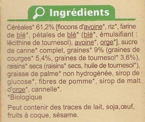 Muesli croustillant Graines de courge et de tournesol - Ingrediënten