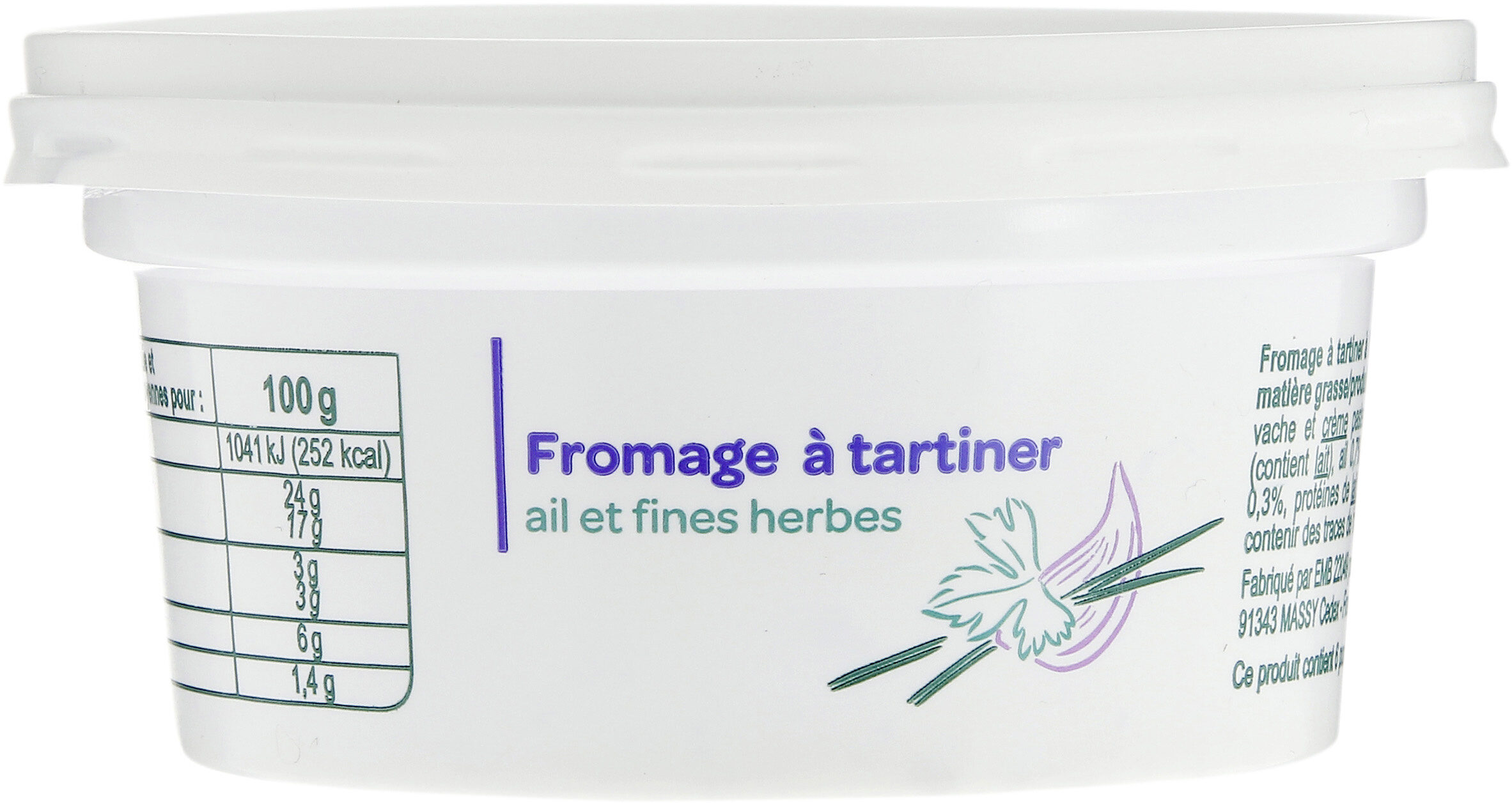 Fromage à tartiner, ail et fines herbes (24 % MG) - Produit - fr