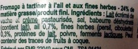 Fromage à tartiner, ail et fines herbes (24 % MG) - Ingrédients