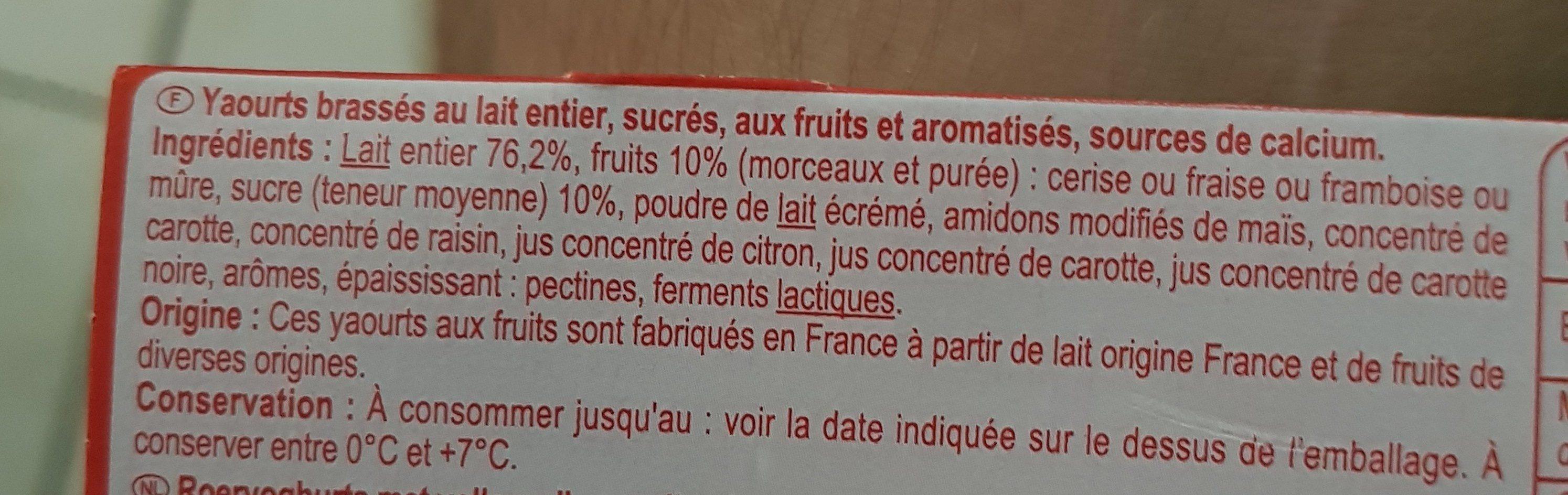 Yaourt fruits rouges avec morceaux - Ingredients - fr