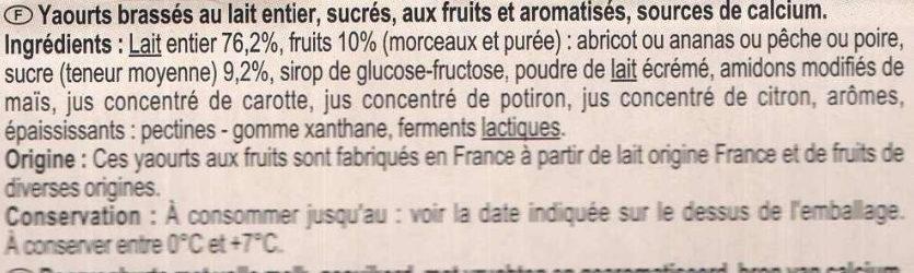 Yaourt fruits jaunes avec morceaux - Ingrediënten - fr