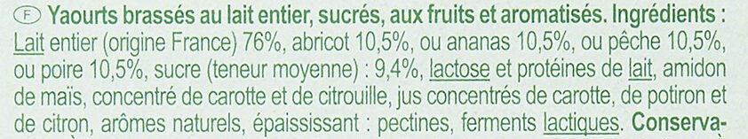 Yaourt Fruits jaunes avec morceaux - Ingrédients - fr