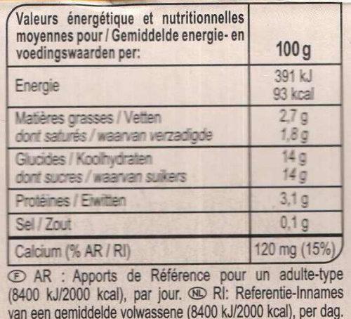 Yaourt fruits jaunes avec morceaux - Voedingswaarden - fr