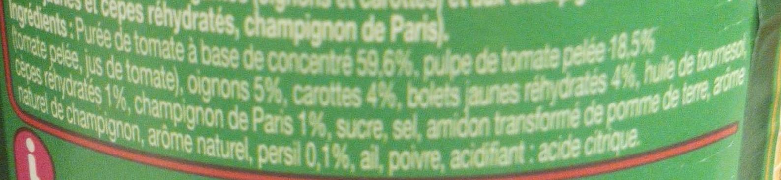 Pasta sauce, Forestière (Aux Bolets, cèpes et champignons de Paris) - Ingrédients