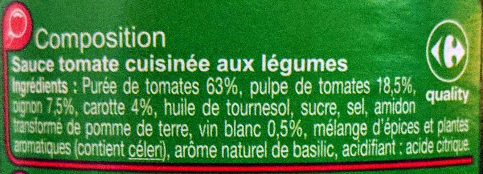 Pasta sauce Aux Légumes - Ingrédients - fr