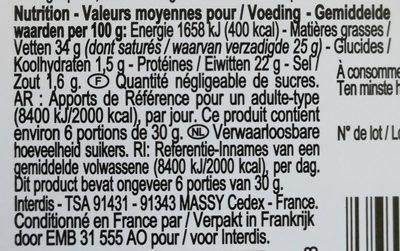 Tomme de Brebis - Informazioni nutrizionali - fr