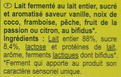 Bifidus Aromatisés - Ingrédients - fr